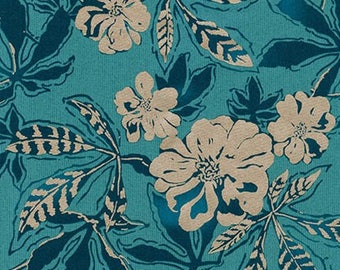 Jennifer Sampou for Robert Kaufman FABRIC - Shimmer On - Floral in Ocean