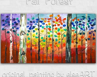 Art Oil painting Multicolor Impasto Autumn forest original large abstract painting textured landscape painting by tim lam 48 x 24