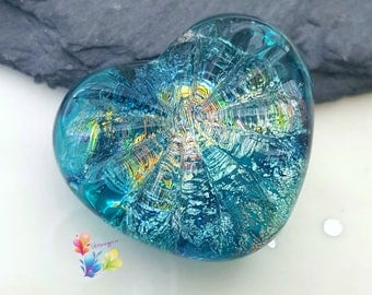 Lampwork Focal Bead, Northern Lights Starburst Heart