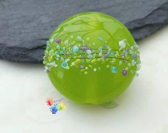 Lampwork Beads Chelsea Lime per bead .. Limited Edition