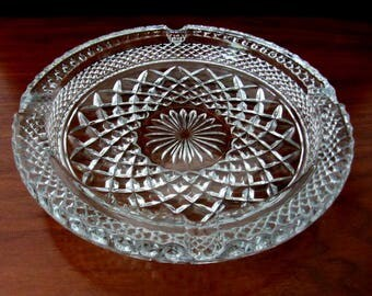 Vintage Clear Glass Round Ashtray