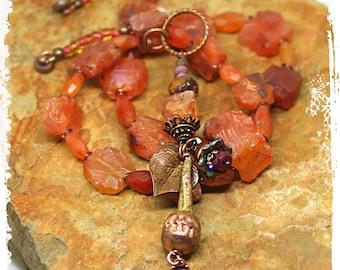 Short boho necklace orange, Raw stone necklace for women, Pendant necklace assemblage, Orange statement necklace pendant