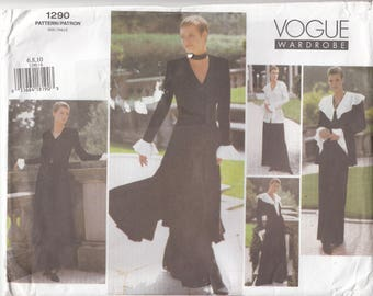 Vogue 1290 Wardrobe Loose Fitting Jacket Fitted Dress Top Long Sleeves Two Lengths Wide Leg Pants Sewing Pattern Uncut Easy Sizes 6-8-10