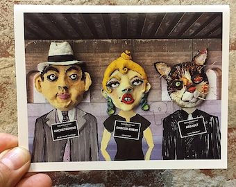 Funny Art Card -  Blank Note Card - Gangsters - Unique Card