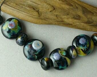 Lampwork beads/SRA Lampwork/beads/shards/murrini/black/jewelry supplies/artisan lampwork/glass beads/