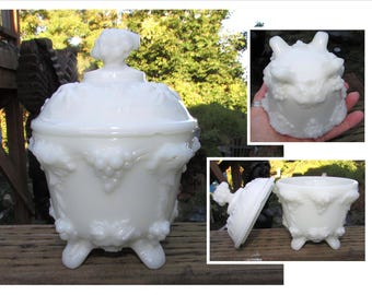 Vintage White Milk Glass Footed Candy Dish with Embossed Grapes & Vines