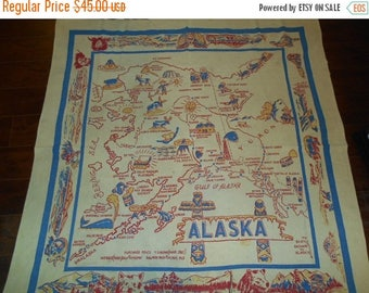 SALE 25% off SALE Vintage Souvenir Tablecloth Alaska State Map Cloth Square Table Cloth
