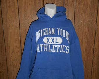 Closing Shop 40%off SALE 80's 90's  Vintage Sweat shirt hoody BRIGHAM YOUNG Athletics University college