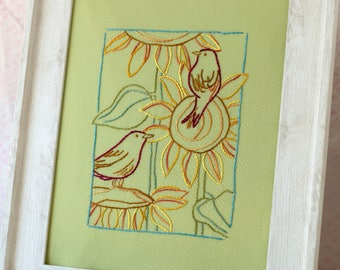Red Birds Sunflowers Hand Embroidery PDF Pattern
