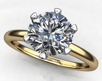 naomi ring - 1 carat NEO moissanite engagement ring, two tone ring