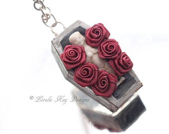 Bed of Roses Cemetery Frozen Charlotte Necklace Scary Cute Gothic Pendant Lorelie Kay Original