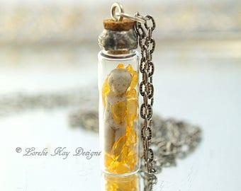 Frozen Charlotte Citrine Gemstone Bottle Soldered Doll in Bottle Necklace Tiny Frozen Charlotte Doll Lorelie Kay Designs Original