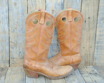 1970s, Mens Cowboy Boots, Us 10, Uk 9.5, Eu 43, USA Made, Cuban Heel, Leather Cowboy Boots, Brown Cowboy Boots, Leather Western Boots
