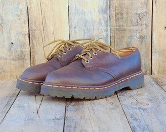 Dr Marten Shoes, Doc Martens, Us 5.5, Uk 5, Eu 38, Brown Leather Shoe, Brown Oxford Shoe, Leather Oxford Shoe, Made in ENGLAND, Hipster Shoe