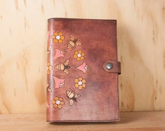Sketchbook Cover - Leather Journal or Sketchbook in the Meadow pattern with bees, honeycomb and flowers - Third Anniversary Gift