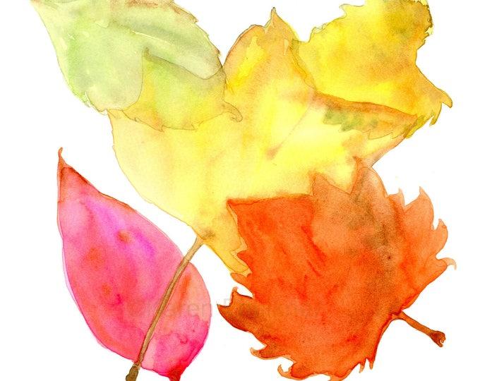 "Original watercolor painting: ""Autumn Leaves"""