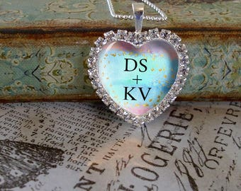 Rhinestone Heart Valentine pendant,personalized pendants, gift boxed,Valentine's Day gifts,  love,heart pendants, bridal gifts