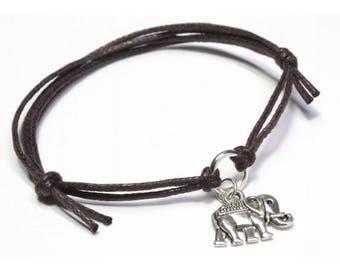 Blue or Brown Elephant bracelet charm adjustable