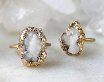 geode ring, raw geode ring, raw crystal ring, gold dipped crystal, druzy ring, natural druzy ring
