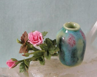 Dollhouse Miniature Porcelain Art Vase with Pink Roses in 1:12 Dollhouse Scale