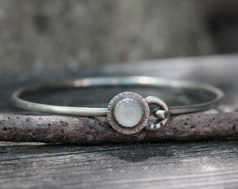Rustic white moonstone sterling silver bangle bracelet