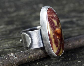 Yellow Feather jasper sterling silver ring