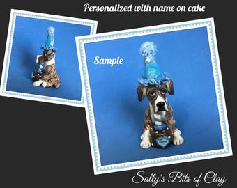 Brindle and White Great Dane Natural Ears BIRTHDAY dog OOAK Clay Cake Topper art by Sallys Bits of Clay Original Sculpture name on Cake