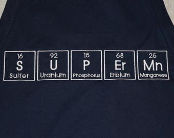 SUPErMn T-shirt Embroidered in Periodic Table Letters Short Sleeve T Superman  Made to Order