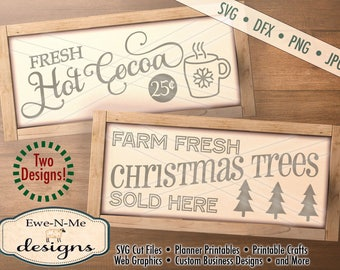 Christmas SVG Files - Mug svg - Christmas Tree svg  - Hot Cocoa svg  - svg bundle -  Commercial Use svg, dfx, png and jpg