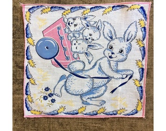 1950's Child's Hankey - Easter Bunny