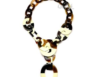 Horn & Lacquer Chain Necklace - Q11178-I