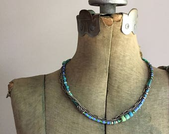 Sterling Silver African Trade Bead Turquoise Periwinkle Green Multichain Necklace Bali Bead Oblong Cable Curb Chain Boho 19 Inch