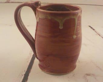 Stoneware Mug - Ceramic Coffee Cup - Handmade - 14 Ounce Cup - Ready to Ship - Thumb Rest  - Rustic Brick Red - Creamy Drip Rim m307