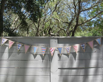 Burlap Patriotic Banner - July 4th or Memorial Day