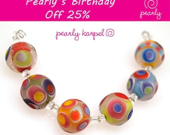 Pearly Lampwork  6 18 mm etched round beads with colorful dots Lampwork beads SRA made to order