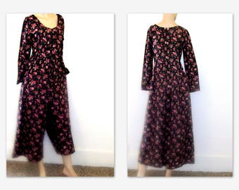 Vintage 90s Wide Leg Floral Jumpsuit. Palazzo Jumpsuit. High Waist Womens Culotte  Fit S/M