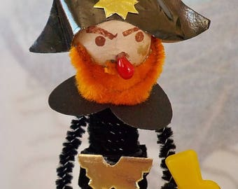 Vintage Style / Pipe Cleaner Pirate Figure / Vintage Craft Supplies / Spun Cotton Head