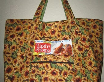 """Double Extra Large Durable 15.5"""" Grocery Shopper Market Tote Bag Sunflowers with POCKETS and Small Zippered Front Pocket NEW!"""