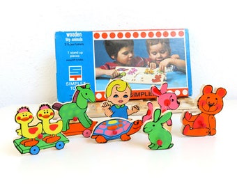 70s Vintage Wooden Tray Puzzle, Wood Peg Puzzle Toy Animals, Simplex Toys Made in Holland, 7 Stand Up Puzzle Pieces, Baby Nursery Decor