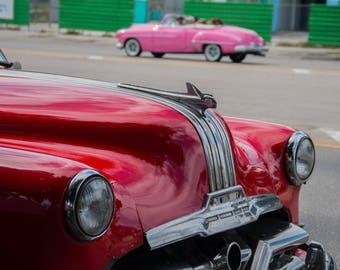 Red classic car Cuba Photograph vintage cars red pink green Hood ornament front headlights Cruising Havana wall decor automobile collectible