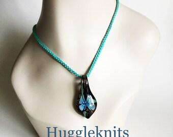 Turquoise Glass Pendant vintage feel - Cotton Chain anti allergy jewellery