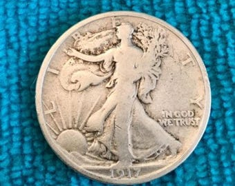 1917 P Half Dollar Very Good Bright  SILVER STANDING LIBERTY Coins  Harder to find - Free Usa Shipping