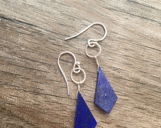 Carved Blue Lapis Lazuli Kite Shaped Earrings with Hammered Sterling Silver Accents
