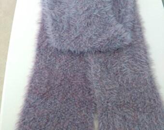 """SALE ITEM - NEW Handmade Wisteria Fur-Tastic Seed Stitch Knit Scarf 6"""" x 69"""""""