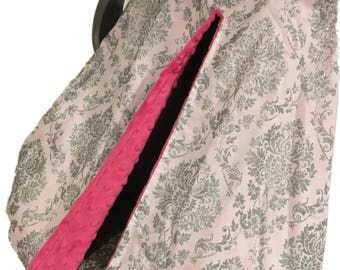 Fitted Car Seat Canopy~Glittery Silver Damask Print~ Fuchsia Minky Interior~Girls Car Seat Cover