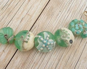 Handmade Lampwork Glass Bead set, Sea, Ocean, Sea Shore, Water, Wave, Nautical, Sand, Starfish, Shell, Artisan bead Generationslampwork SRA