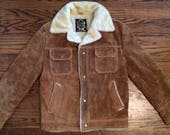 Men's Vintage Style Coats and Jackets Vintage 1970s sherpa lined leather jacket mens or womens. Size M $66.00 AT vintagedancer.com