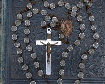 Vintage Clear Glass Rosary Chain Cross Religious