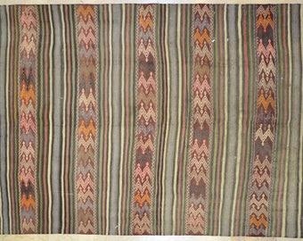 Kilim Rug 5' x 75' Grey Coral Natural Stripe Wool Vintage