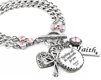 Personalized Scripture Bracelet with your choice of quote, engraved charm, silver charms and crystal color